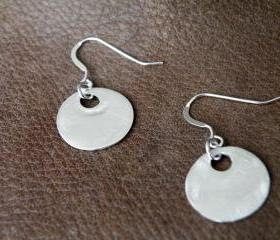 Fine Silver Disc Earrings Sterling Silver Hooks Organic Jewelry Minimalist Small Earrings by SteamyLab