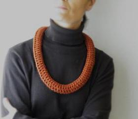 Crochet Scarf Necklace Fashion Merino Wool Rust colour Winter Accessories Neckwarmer by SteamyLab.