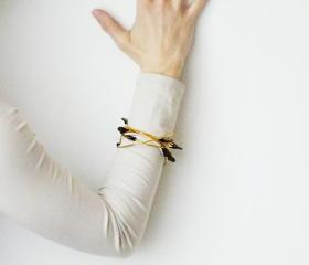 Hammered Aluminum Bangle Dark brown Leather Gold Brown Colors Minimalist Women Accessories by SteamyLab.