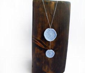 Long Sterling Silver Necklace Cotton Crochet Circles Pastel Sky Blue Spring Summer Trends by SteamyLab