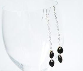 Boho Sterling Silver Drop Earrings Brown Recycled Leather Long Earrings Glamour Accessories by SteamyLab