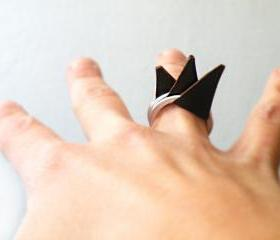 Stacking Rings Brown Leather Spikes Rock Punk Silver Aluminum Ring by SteamyLab