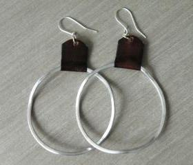 Boho Big Hoop Earrings Hammered Aluminum Recycled Brown Leather Irregular Hoops by Steamylab