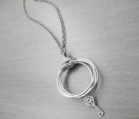 Hoop Pendant Necklace Silver Grey Leather Key Charm Long Necklace Hammered Aluminum by SteamyLab